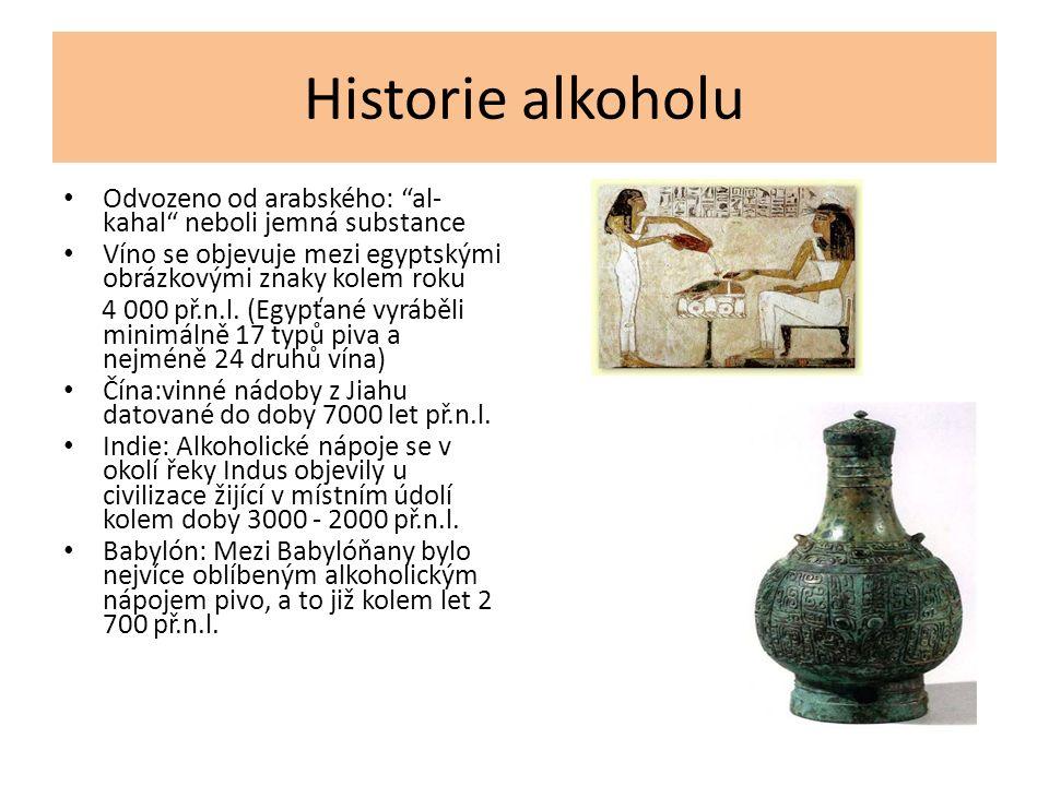 Historie alkoholu Odvozeno od arabského: al- kahal neboli jemná substance Víno se objevuje mezi egyptskými obrázkovými znaky kolem roku 4 000 př.n.l.