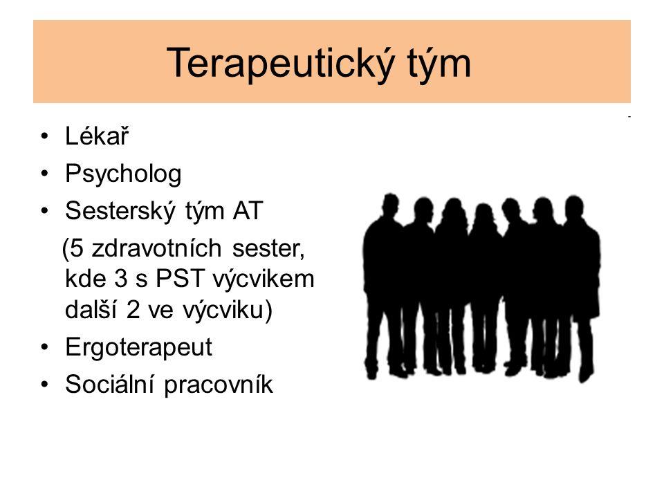 Terapeutický tým Lékař Psycholog Sesterský tým AT (5 zdravotních sester, kde 3 s PST výcvikem další 2 ve výcviku) Ergoterapeut Sociální pracovník