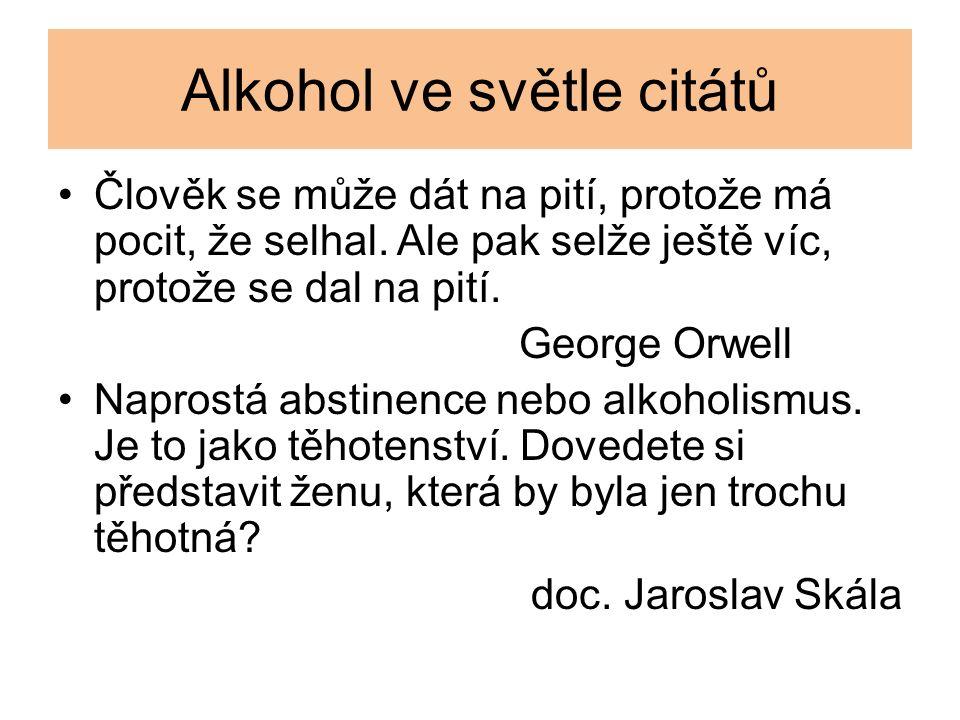 Alkohol ve světle citátů Člověk se může dát na pití, protože má pocit, že selhal. Ale pak selže ještě víc, protože se dal na pití. George Orwell Napro