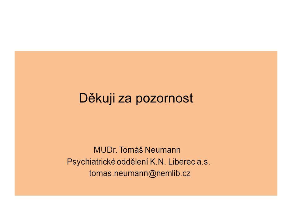 Děkuji za pozornost MUDr. Tomáš Neumann Psychiatrické oddělení K.N. Liberec a.s. tomas.neumann@nemlib.cz