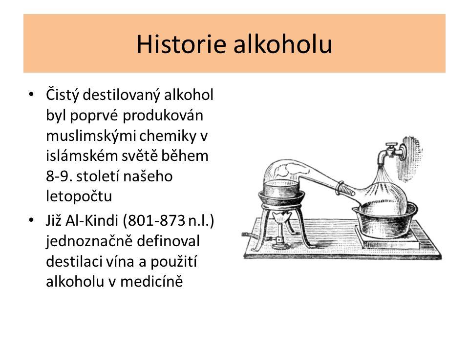 Historie alkoholu Čistý destilovaný alkohol byl poprvé produkován muslimskými chemiky v islámském světě během 8-9. století našeho letopočtu Již Al-Kin