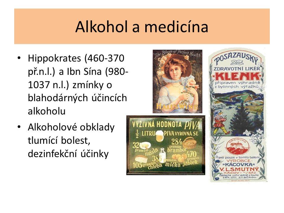 Alkohol a medicína Hippokrates (460-370 př.n.l.) a Ibn Sína (980- 1037 n.l.) zmínky o blahodárných účincích alkoholu Alkoholové obklady tlumící bolest, dezinfekční účinky