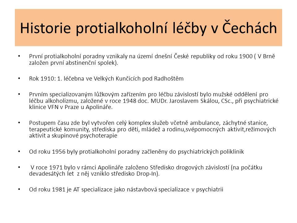 Historie protialkoholní léčby v Čechách První protialkoholní poradny vznikaly na území dnešní České republiky od roku 1900 ( V Brně založen první abst