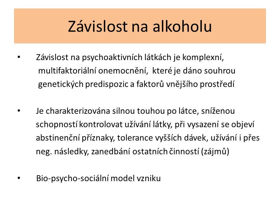 Závislost na alkoholu Závislost na psychoaktivních látkách je komplexní, multifaktoriální onemocnění, které je dáno souhrou genetických predispozic a