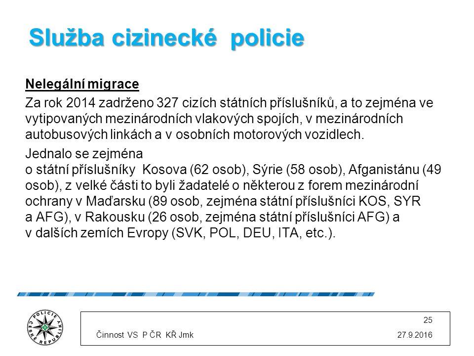 Služba cizinecké policie Nelegální migrace Za rok 2014 zadrženo 327 cizích státních příslušníků, a to zejména ve vytipovaných mezinárodních vlakových spojích, v mezinárodních autobusových linkách a v osobních motorových vozidlech.
