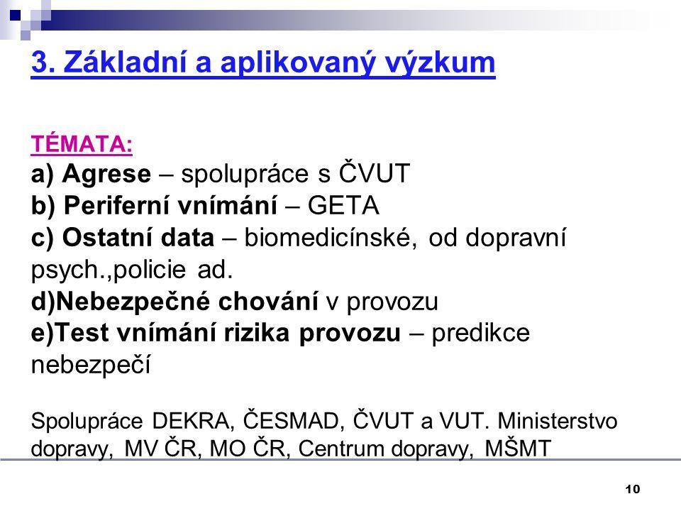 3. Základní a aplikovaný výzkum TÉMATA: a) Agrese – spolupráce s ČVUT b) Periferní vnímání – GETA c) Ostatní data – biomedicínské, od dopravní psych.,