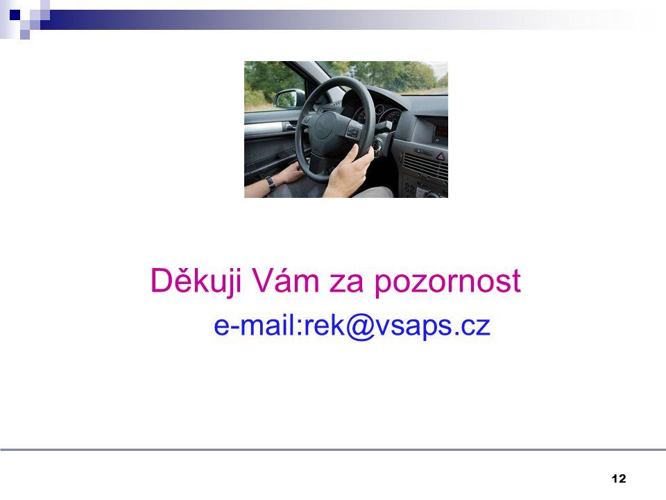 Děkuji Vám za pozornost e-mail:rek@vsaps.cz 12