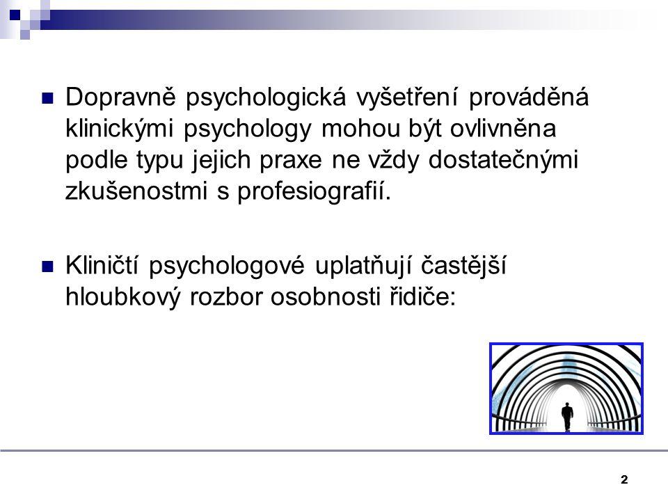 Dopravně psychologická vyšetření prováděná klinickými psychology mohou být ovlivněna podle typu jejich praxe ne vždy dostatečnými zkušenostmi s profesiografií.