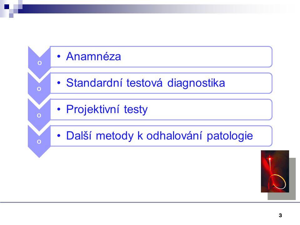 3 o Anamnéza o Standardní testová diagnostika o Projektivní testy o Další metody k odhalování patologie