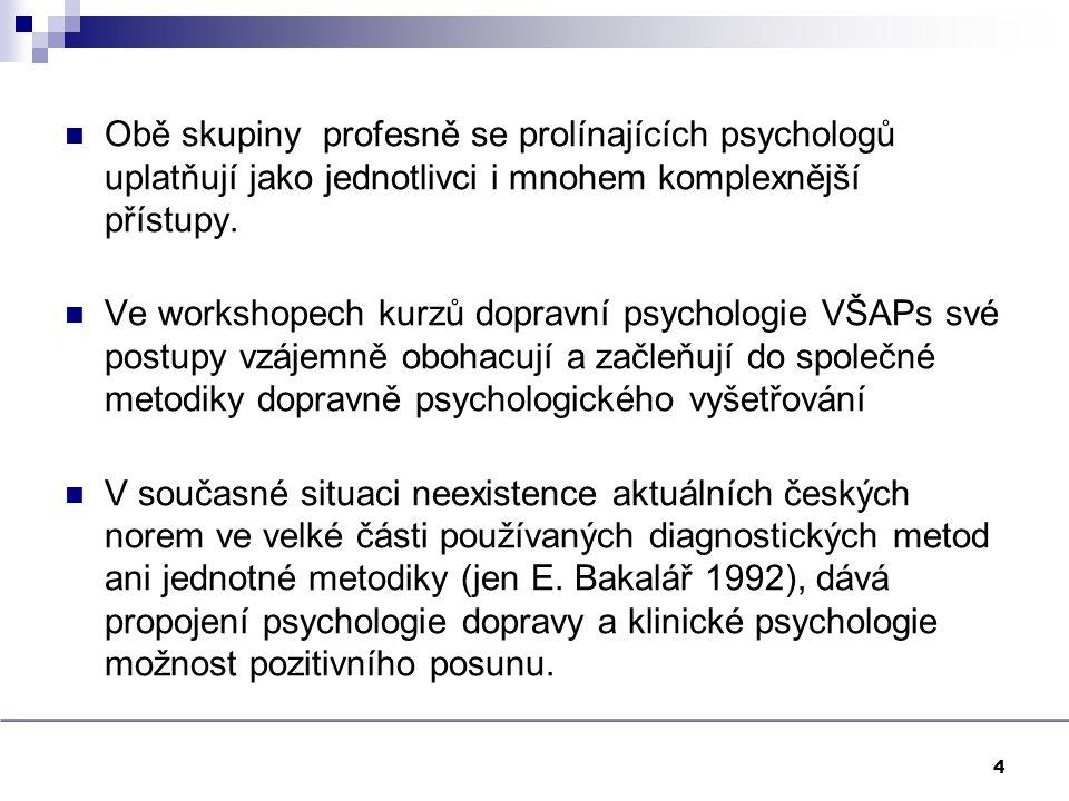 Obě skupiny profesně se prolínajících psychologů uplatňují jako jednotlivci i mnohem komplexnější přístupy. Ve workshopech kurzů dopravní psychologie