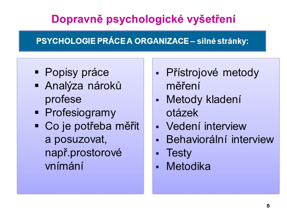 Dopravně psychologické vyšetření 5 PSYCHOLOGIE PRÁCE A ORGANIZACE – silné stránky:  Popisy práce  Analýza nároků profese  Profesiogramy  Co je pot