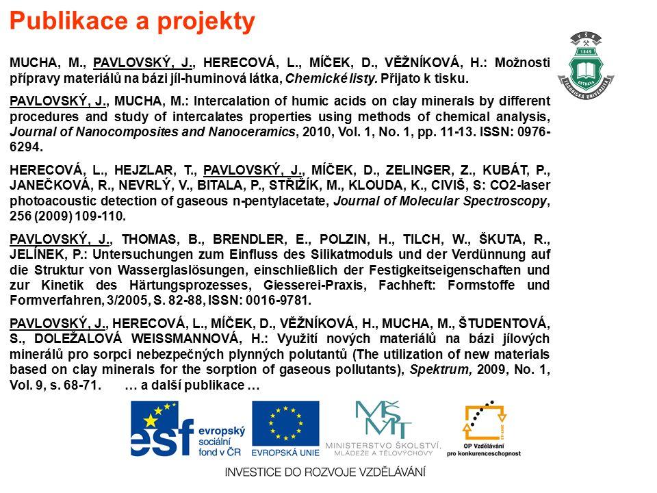 MUCHA, M., PAVLOVSKÝ, J., HERECOVÁ, L., MÍČEK, D., VĚŽNÍKOVÁ, H.: Možnosti přípravy materiálů na bázi jíl-huminová látka, Chemické listy.