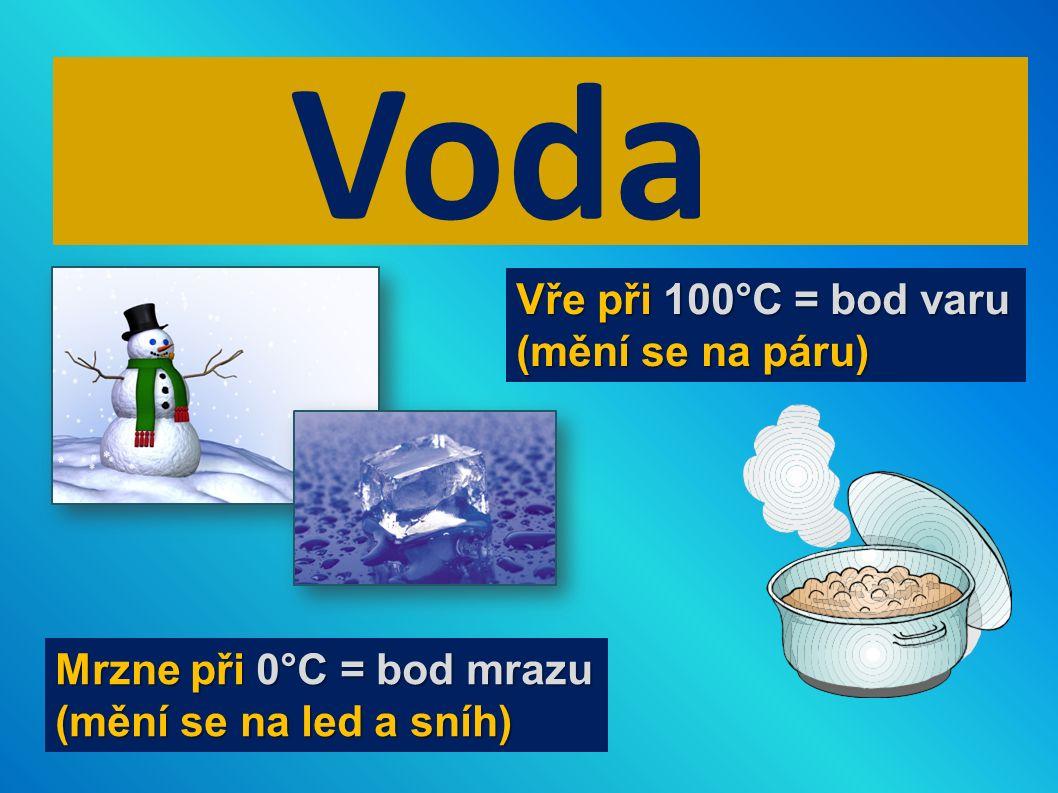 Voda Mrzne při 0°C = bod mrazu (mění se na led a sníh) Vře při 100°C = bod varu (mění se na páru)