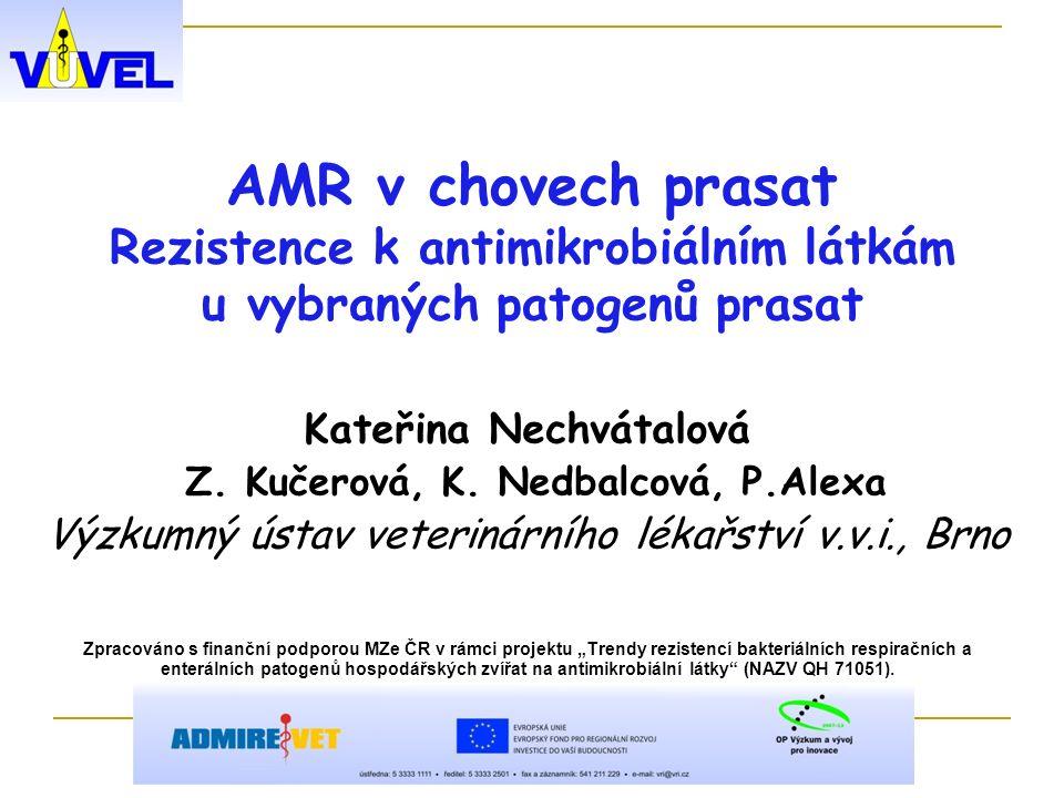 AMR v chovech prasat Rezistence k antimikrobiálním látkám u vybraných patogenů prasat Kateřina Nechvátalová Z.