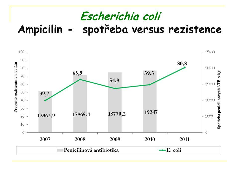 Escherichia coli Ampicilin - spotřeba versus rezistence