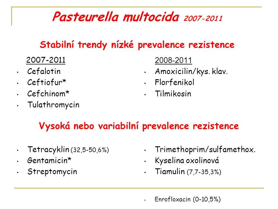 Escherichia coli 2007-2011 Stabilní trendy nízké prevalence rezistence Vysoká nebo variabilní prevalence rezistence Kolistin Cefuroxim Ceftiofur* Cefchinom* Ampicilin (39,7%-80,8%) Amoxicilin/kys.