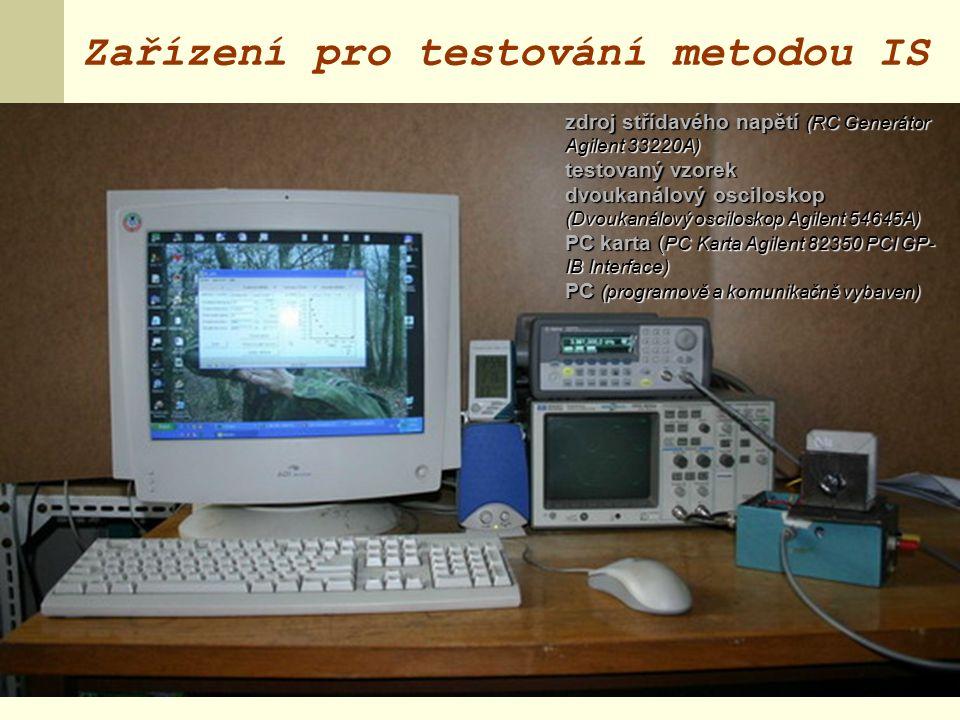 Zařízení pro testování metodou IS zdroj střídavého napětí (RC Generátor Agilent 33220A) testovaný vzorek dvoukanálový osciloskop (Dvoukanálový osciloskop Agilent 54645A) PC karta ( PC Karta Agilent 82350 PCI GP- IB Interface) PC (programově a komunikačně vybaven)