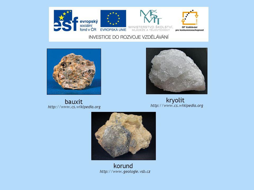 http://www.cs.wikipedia.org bauxit kryolit http://www.cs.wikipedia.org korund http://www.geologie.vsb.cz