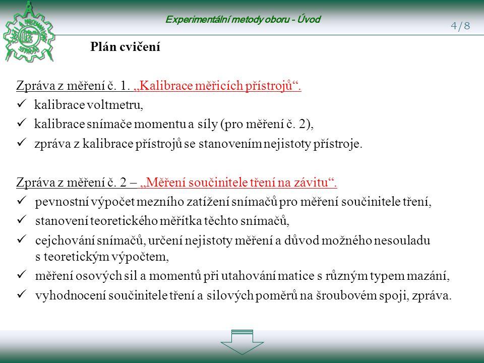 Experimentální metody oboru - Úvod 4/8 Plán cvičení Zpráva z měření č.