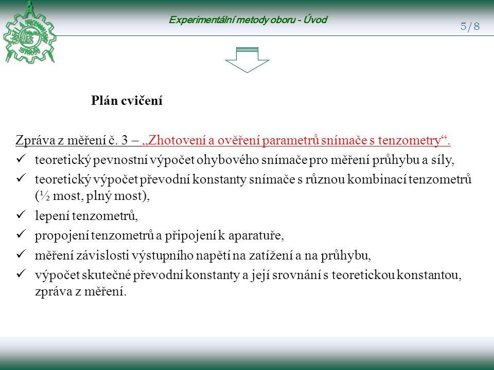 Experimentální metody oboru - Úvod 5/8 Plán cvičení Zpráva z měření č.