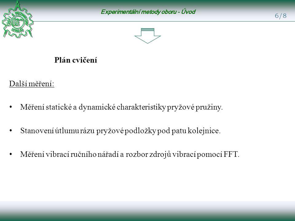 Experimentální metody oboru - Úvod 6/8 Plán cvičení Další měření: Měření statické a dynamické charakteristiky pryžové pružiny.