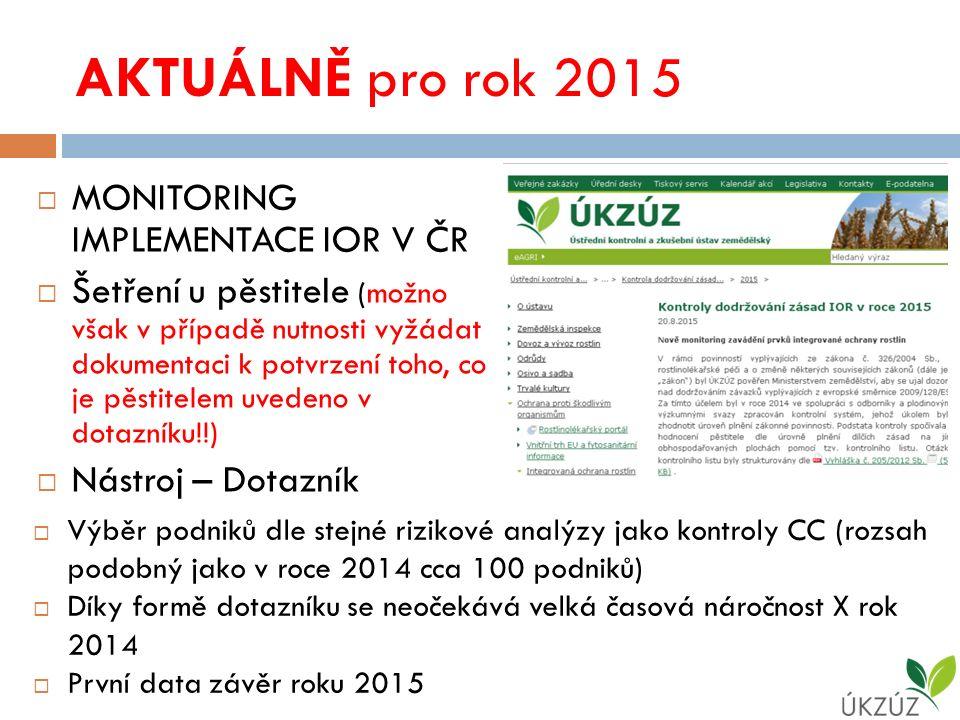 AKTUÁLNĚ pro rok 2015  MONITORING IMPLEMENTACE IOR V ČR  Šetření u pěstitele (možno však v případě nutnosti vyžádat dokumentaci k potvrzení toho, co je pěstitelem uvedeno v dotazníku!!)  Nástroj – Dotazník  Výběr podniků dle stejné rizikové analýzy jako kontroly CC (rozsah podobný jako v roce 2014 cca 100 podniků)  Díky formě dotazníku se neočekává velká časová náročnost X rok 2014  První data závěr roku 2015