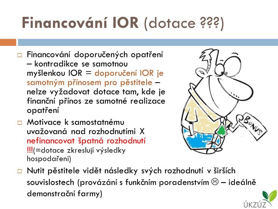 Financování IOR (dotace )  Financování doporučených opatření – kontradikce se samotnou myšlenkou IOR = doporučení IOR je samotným přínosem pro pěstitele – nelze vyžadovat dotace tam, kde je finanční přínos ze samotné realizace opatření  Motivace k samostatnému uvažovaná nad rozhodnutími X nefinancovat špatná rozhodnutí !!.