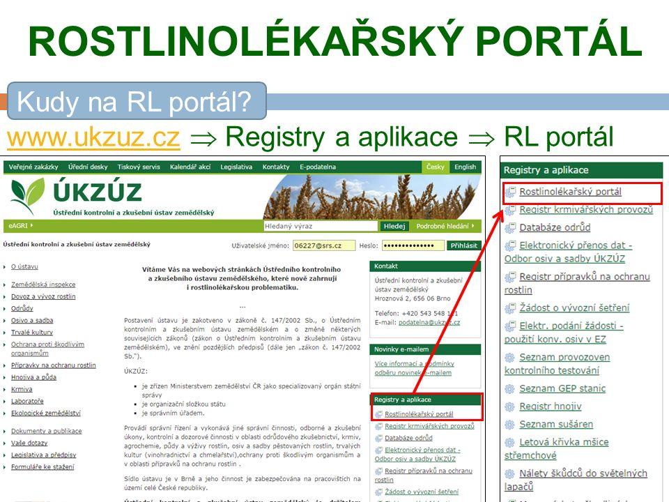 ROSTLINOLÉKAŘSKÝ PORTÁL www.ukzuz.cz www.ukzuz.cz  Registry a aplikace  RL portál Kudy na RL portál