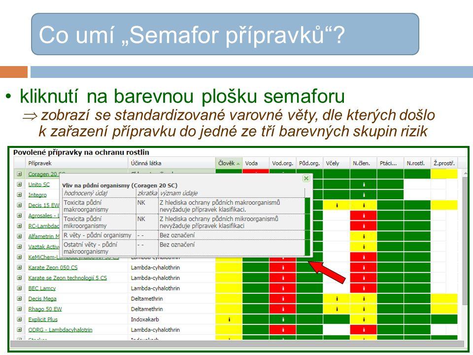 """kliknutí na barevnou plošku semaforu  zobrazí se standardizované varovné věty, dle kterých došlo k zařazení přípravku do jedné ze tří barevných skupin rizik Co umí """"Semafor přípravků"""