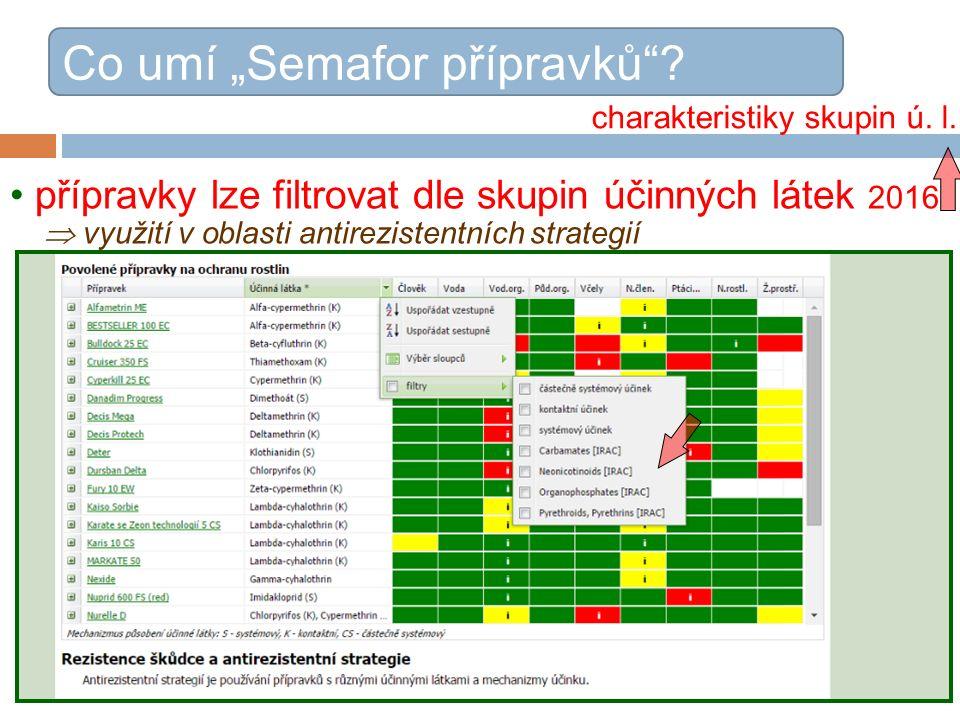 """přípravky lze filtrovat dle skupin účinných látek 2016  využití v oblasti antirezistentních strategií Co umí """"Semafor přípravků ."""