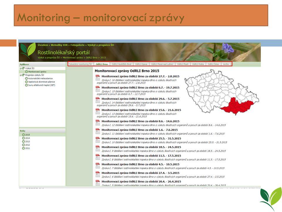 Monitoring – monitorovací zprávy