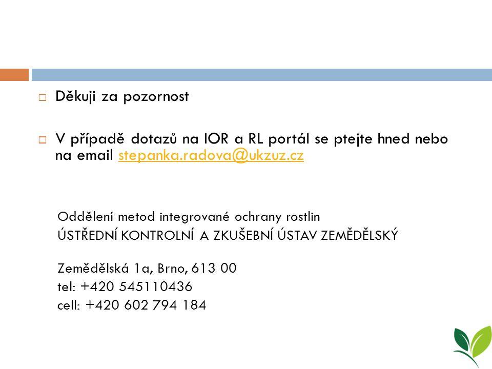  Děkuji za pozornost  V případě dotazů na IOR a RL portál se ptejte hned nebo na email stepanka.radova@ukzuz.czstepanka.radova@ukzuz.cz Oddělení metod integrované ochrany rostlin ÚSTŘEDNÍ KONTROLNÍ A ZKUŠEBNÍ ÚSTAV ZEMĚDĚLSKÝ Zemědělská 1a, Brno, 613 00 tel: +420 545110436 cell: +420 602 794 184