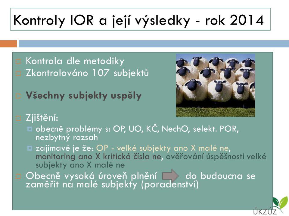 Kontroly IOR a její výsledky - rok 2014  Kontrola dle metodiky  Zkontrolováno 107 subjektů  Všechny subjekty uspěly  Zjištění:  obecně problémy s: OP, UO, KČ, NechO, selekt.