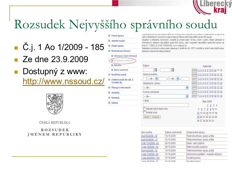 Rozsudek Nejvyššího správního soudu Č.j. 1 Ao 1/2009 - 185 Ze dne 23.9.2009 Dostupný z www: http://www.nssoud.cz/ http://www.nssoud.cz/