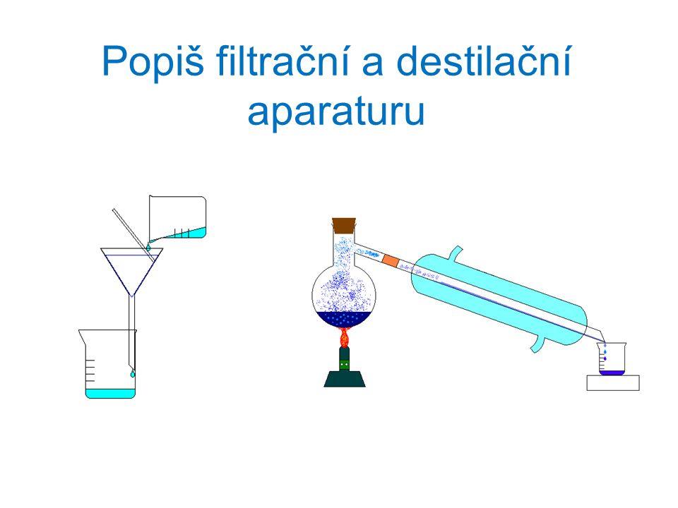 Popiš filtrační a destilační aparaturu