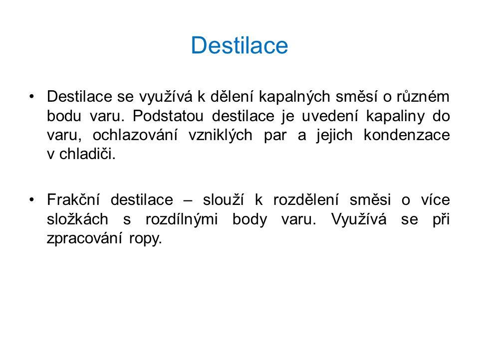 Destilace Destilace se využívá k dělení kapalných směsí o různém bodu varu. Podstatou destilace je uvedení kapaliny do varu, ochlazování vzniklých par