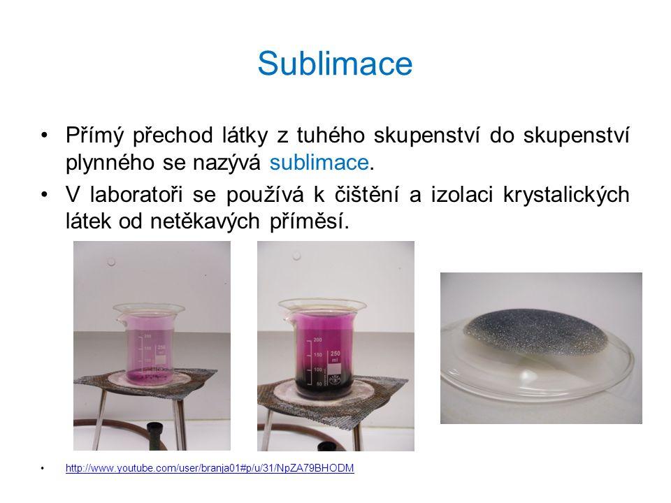 Sublimace Přímý přechod látky z tuhého skupenství do skupenství plynného se nazývá sublimace. V laboratoři se používá k čištění a izolaci krystalickýc