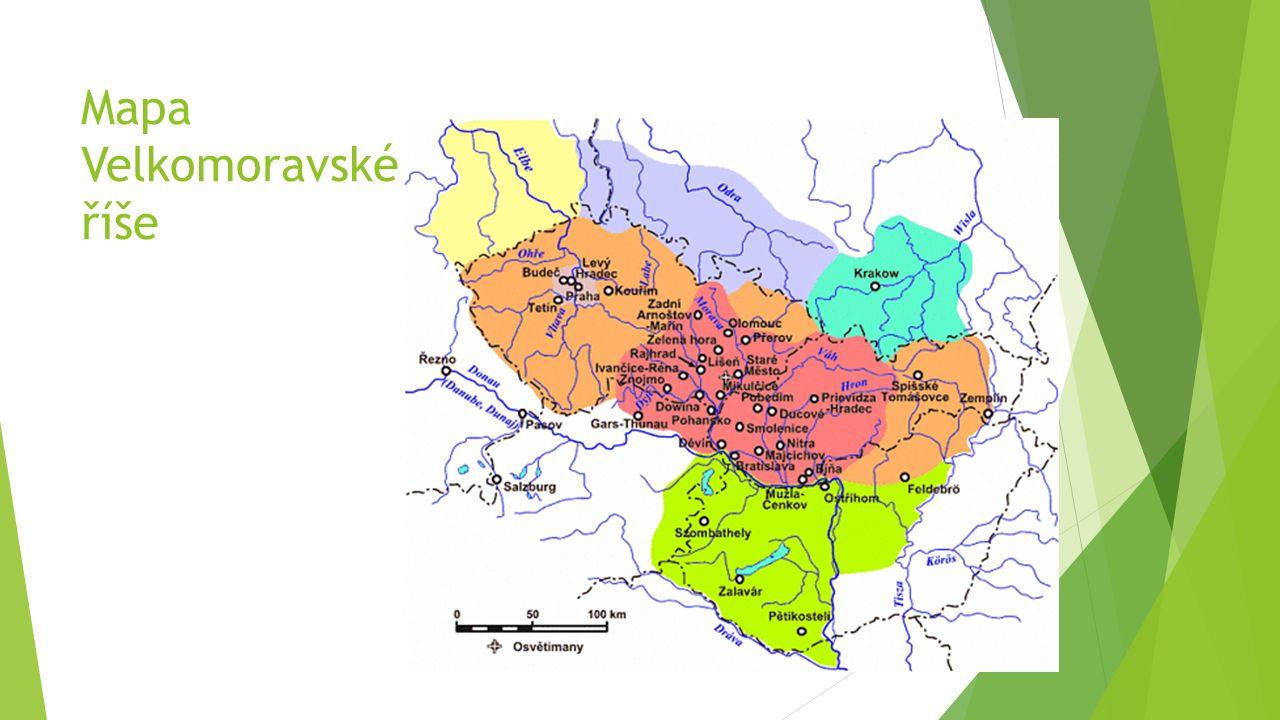 Mapa Velkomoravské říše