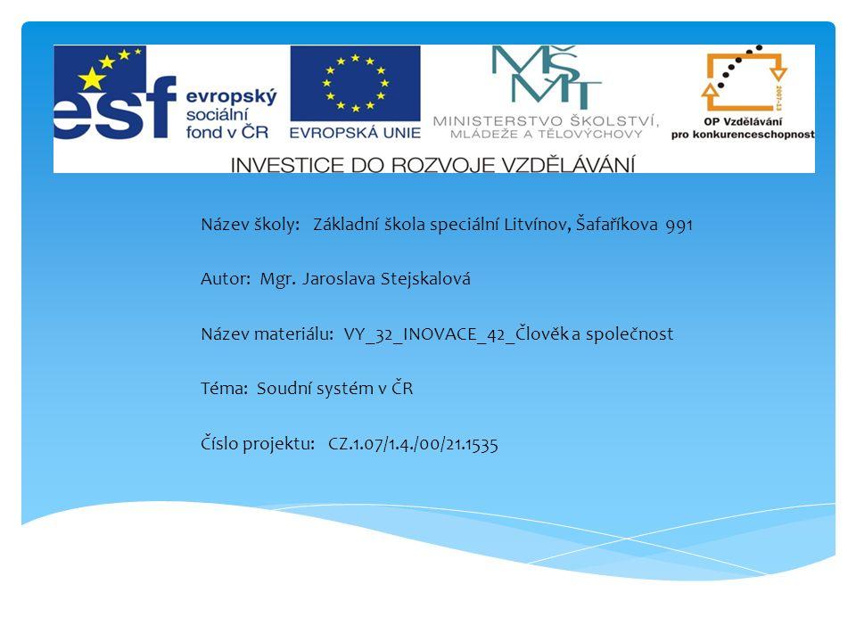  Anotace: Žáci se v této prezentaci seznámí se základními pojmy, týkající se soudního systému v ČR.