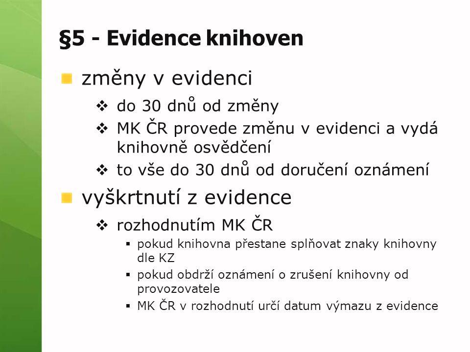 §5 - Evidence knihoven změny v evidenci  do 30 dnů od změny  MK ČR provede změnu v evidenci a vydá knihovně osvědčení  to vše do 30 dnů od doručení