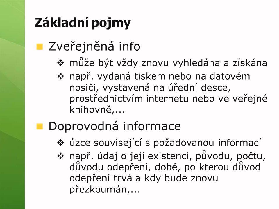 Základní pojmy Zveřejněná info  může být vždy znovu vyhledána a získána  např.