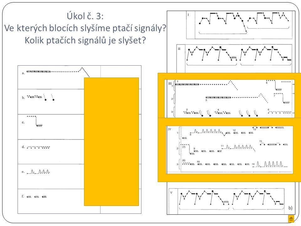 Úkol č. 3: Ve kterých blocích slyšíme ptačí signály.