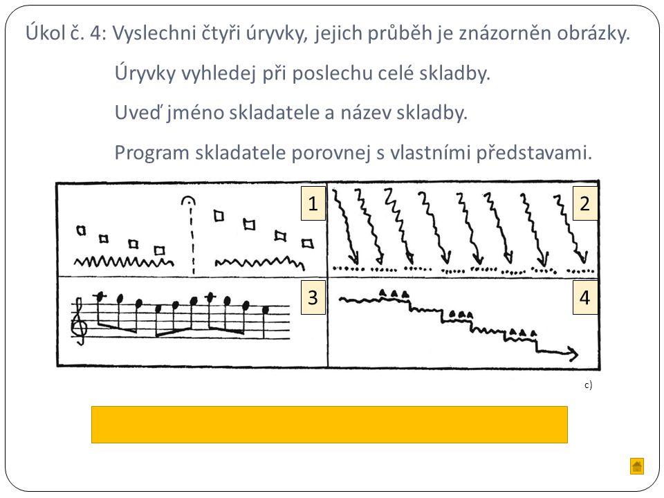 Úkol č. 4: Vyslechni čtyři úryvky, jejich průběh je znázorněn obrázky.
