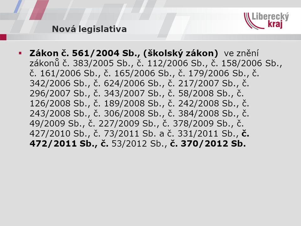 Nová legislativa  Zákon č. 561/2004 Sb., (školský zákon) ve znění zákonů č.