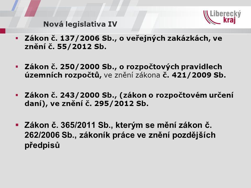 Nová legislativa IV  Zákon č. 137/2006 Sb., o veřejných zakázkách, ve znění č.