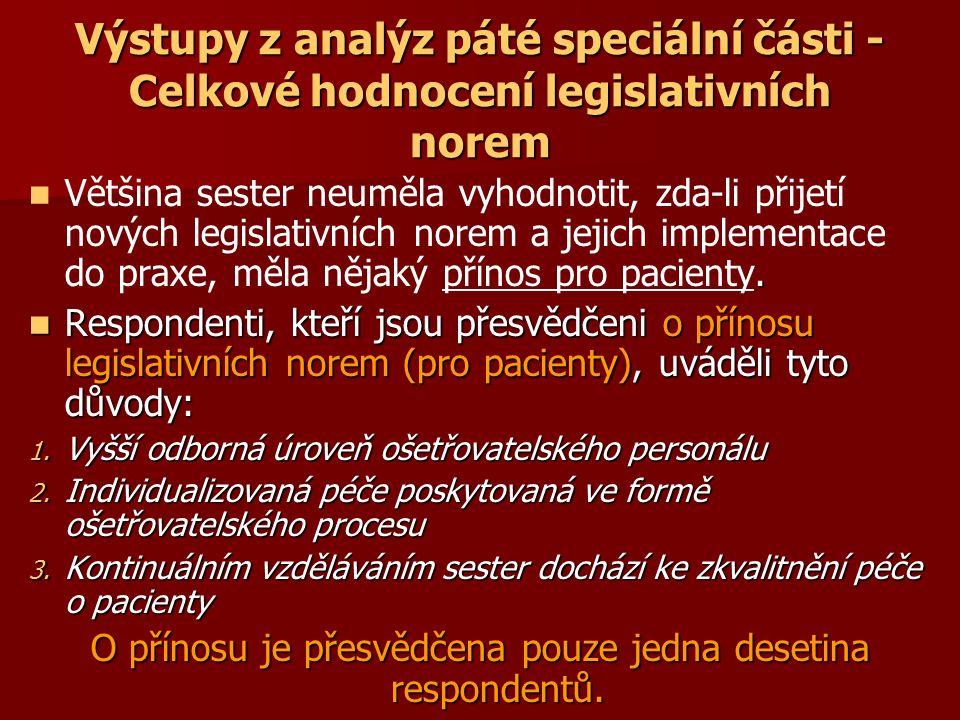Výstupy z analýz páté speciální části - Celkové hodnocení legislativních norem.