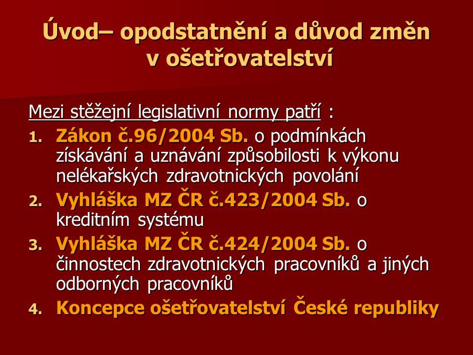 Úvod– opodstatnění a důvod změn v ošetřovatelství Mezi stěžejní legislativní normy patří : 1.