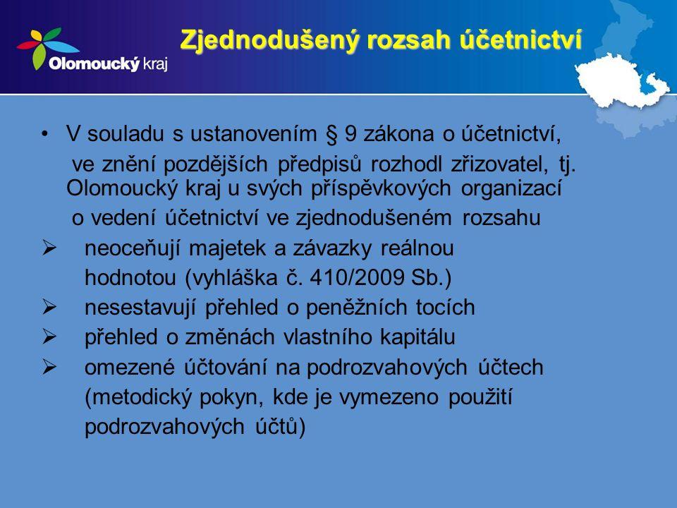 Zjednodušený rozsah účetnictví V souladu s ustanovením § 9 zákona o účetnictví, ve znění pozdějších předpisů rozhodl zřizovatel, tj. Olomoucký kraj u