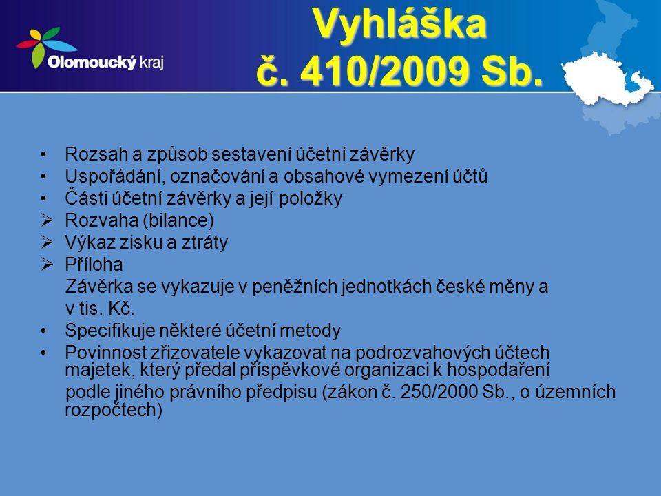 Vyhláška č. 410/2009 Sb. Rozsah a způsob sestavení účetní závěrky Uspořádání, označování a obsahové vymezení účtů Části účetní závěrky a její položky