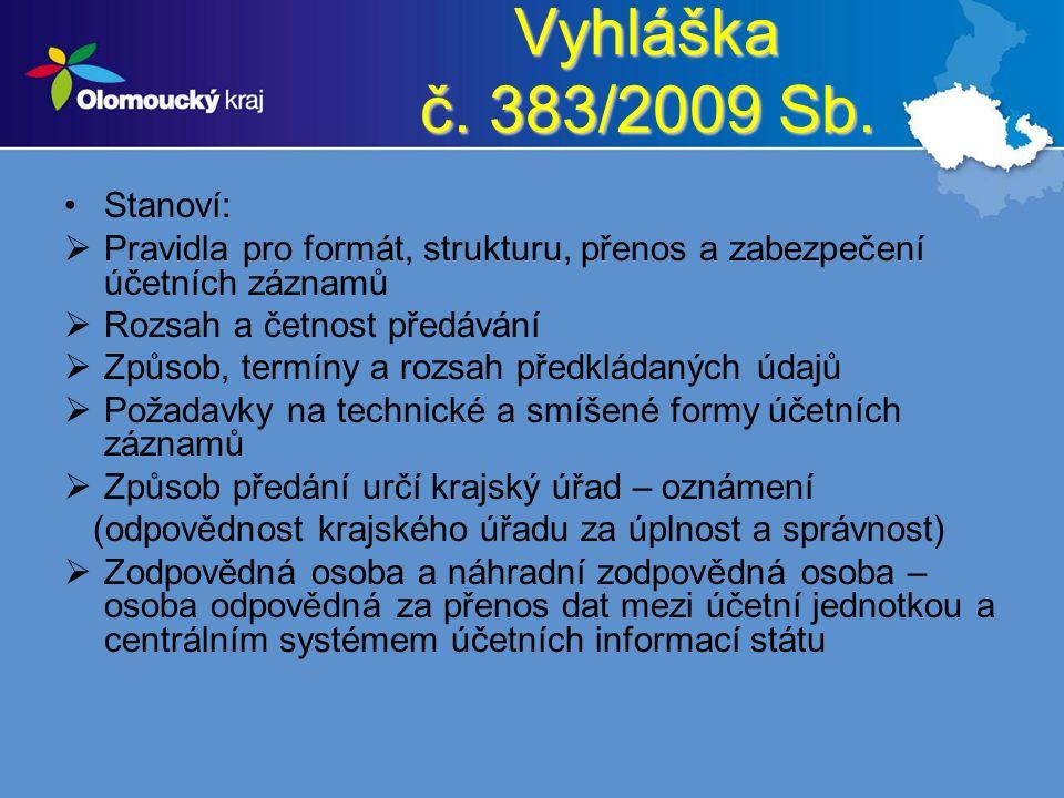 Vyhláška č. 383/2009 Sb. Stanoví:  Pravidla pro formát, strukturu, přenos a zabezpečení účetních záznamů  Rozsah a četnost předávání  Způsob, termí